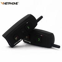 Wholesale communication bluetooth - Vnetphone V2-1200 Motorcycle Intercom Bluetooth Helmet Headset 1200M 2 Riders Communication BT Interphone Wireless Headphone