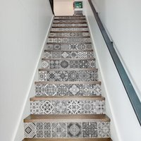 Wholesale halloween ceramic houses resale online - 13Pcs Set Creative DIY D Stairway Stickers Ceramic Tiles Pattern for House Stairs Decoration Large Staircase Wall Sticker