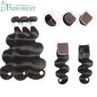Wholesale 100 brazilian human hair for sale - Body Wave Bundles With Closure Brazilian Hair Weave Bundles With Closure Human Hair Bundles With Closure Fairgreat Hair Extensions