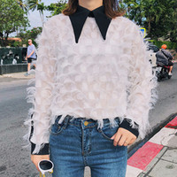 Wholesale new korean women fashion blouse - Raylans 2018 Spring Stitching Feather Blouse Long Sleeve Chffion Women Tees New Korean Fashion Sweat Shirt