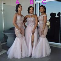 hombros descubiertos vestidos de dama de honor al por mayor-Vestidos de dama de honor de sirena de estilo mixto Vestido de novia de tul dividido de capas de color rosa con apliques de hombro Vestido de novia de longitud de piso de boda