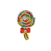 Wholesale big lollipops - ZHINI New Fashion Jewelry for Women Jewelry Big Lollipop Brooches Colorful Lollipop Design Candy Brooches Style E49248