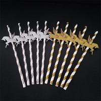 kağıt püskürtme paketleri toptan satış-Altın Gümüş Uçan Unicorn Kağıt Straw Yüksek Kalite Ert Masa Dekorasyon Pretty Doku 25 Bir Pakette 6rs X