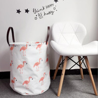 Wholesale baskets for clothes storage online - 40 cm Flamingo Washing Basket Dirty Clothes Sundries Storage Baskets Organizers Laundry Basket ins Storage Basket For Toy KKA5871