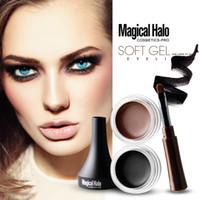 maquillaje de halo negro al por mayor-Magical Halo 2Color Waterproof Eyeliner Gel de maquillaje Smooth fácil de usar Negro Brown Color Pigmento Eyebrow Enhancer Cream E17005 EMS DHL