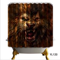 ingrosso tende all'orso-La tenda di doccia in poliestere 3D dipinge gli schermi di bagno di tenda di doccia di orso bruno Scenario impermeabile tappetini di pavimento di tenda di bagno mette