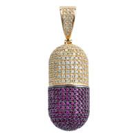 puede colgantes al por mayor-Hip Hop Iced Out Cubic Zircon Pill Necklace Puede abrir cápsulas Colgante Necklace Iced Out Detachab