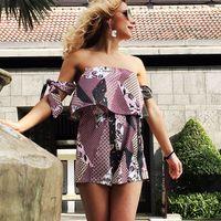 8491f4aba8e4 NZ  19.50. Sexy Summer Women s Set Off Shoulder Floral Print Women s Sets  Sleeveless Tops + Shorts Set