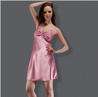 Wholesale Ladies Nightgowns - Yao Ting explosion models solid color sexy straps nightdress temptation silk ladies pajamas simple simulation silk female home service