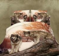 conjuntos de capa de edredão de lobo venda por atacado-VENDA QUENTE 3D Lobo Comforter Cama Set Capa de Edredão / folha de cama / fronhas Animal Roupa de Cama Dupla King Size Têxteis Para o Lar 4 pcs