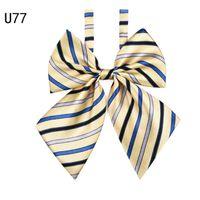 Wholesale cravat bow tie women - Zebery Bow Tie Women High School Girl Student Cosplay Uniform Formal Suit Accessories Cravat Butterfly Knot Striped Blue P0.20