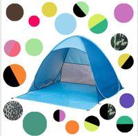 палаточные лагеря оптовых-Автоматическая Открытая палатка мгновенный портативный пляж палатка укрытие пешие прогулки кемпинг анти-УФ семья кемпинг палатки для 2-3 человек KKA1884