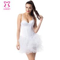 burlesque korse elbiseleri toptan satış-Gelin Beyaz Pamuk Sapanlar Ile Korseler Ve Bustiers Push Up Victoria Korse Elbise Gotik Burlesque Kostümleri Düğün Korset Üst