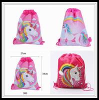 Wholesale kids art parties online - 3 Styles cm Unicorn Drawstring Backpack Kids Backpack Candy Bags School backpack Storage Bag Party Favor CCA10294
