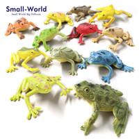 Wholesale plastic figurines animals - 12pcs Kawaii Mini Frogs Figurine Fairy Garden Moss Terrarium Home Decor Crafts Bonsai Bottle Diy Resin Miniatures Animals Statue