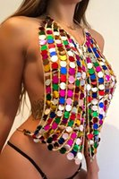 Wholesale full body lingerie - Beach Sequined Chains Bra Tops Harness Halter Necklace Body Lingerie Tassel Metallic Necklace Plunge Crop Tops Jewelry