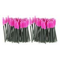 Wholesale synthetic fiber brushes resale online - one off Disposable make up brush Pink Synthetic Fiber Eyelash Brush Mascara Applicator Wand Brush Drop shipping