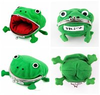 Wholesale frog plush animal - Baby Kids Children Frog Shape Cosplay Coin Purse Wallet Soft Furry Plush Funny Naruto Storage Bag DDA191