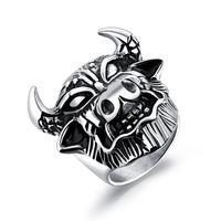tiere chinesischen ring großhandel-12 Chinese Zodiac Cattle Fashion Einfache Herren Tier Ringe Edelstahl Ring Schmuck Geschenk für Männer Jungen 580
