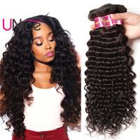 Wholesale Deep Curls Weave - UNice Hair 8A Virgin Indian Deep Wave 5 Bundles Unprocessed Remy 100% Human Hair Extensions 12-26 inch Wholesale Nice Curl Hair Weave Bundle