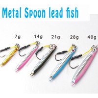 Wholesale Lead Spoons Fishing Lures - TOMA 5 Pieces Brand Jig 4 Colors Jigging Metal Spoon Lure High Quality VIB Artificial Bait BKK Hook Boat Fishing Lures Lead Fish