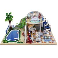 ingrosso i migliori giocattoli portati-Summer Time in legno con LED + Mobili Dollhouse Cute Toys Miglior regalo per i bambini