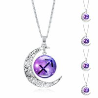 Wholesale snake woman costume online - 12 constellation time Gem Pendent Necklace Silver Plated Half Moon Women Fashion Costume Jewelry Accessories cm Length Chain