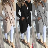 Wholesale Classic Women S Wear - Fashion long section of the classic women's windbreaker three quarters of the year can wear a large lapel collar elegant tri-color optional