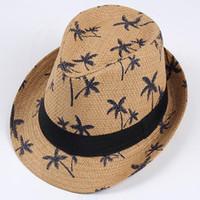 kısa ağızlı toptan satış-Unisex Yaz Panama Saman Plaj Kapakları Nefes Hindistan Cevizi Ağaçları Baskı Tatil Güneşlik Fedora Şapka Kısa Brim Spor Güneş Caps