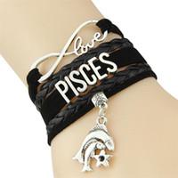 ingrosso segni zodiacali d'amore-Infinity love 12 costellazione bracciale in pelle Zodiac Sign charm bracciali bangles per donna uomo gioielli stella