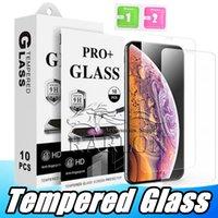 protector de pantalla de gafas templadas paquete de venta al por menor al por mayor-Para iPhone Xs Max Tempered Glass Clear Protector de pantalla 9H 2.5D Película anti-roturas para Samsung J3 J7 2018 LG Stylo 4 con embalaje al por menor