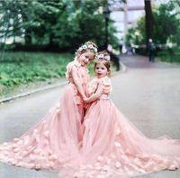 Wholesale Glamorous Flower Girl Dress - Jewel Sweep Train Hand Made Flower Tulle Glamorous Wedding Dresses Flower Girl Dresses New Arrival Cute