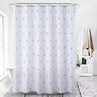 Wholesale waterproof polyester material resale online - Geometric line digital printing waterproof thickening shower curtains for bathroom with Plastic clasp Bathroom Accessories for Bath Material