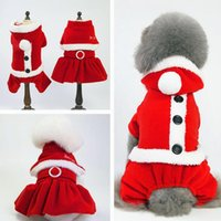 Wholesale fall wedding dresses jackets resale online - 5 Size Christmas dog costume transformed dress santa suit classic Euramerican pet dog warm Christmas clothes dog apparel decoration supplies