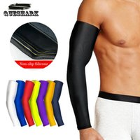 Wholesale Arm Pads White - 1Pcs Breathable Quick Dry UV Protection Running Arm Sleeves Basketball Elbow Pad Fitness Armguards Sports Cycling Arm Warmers