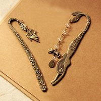 Wholesale metal bookmark butterfly - Retro Alloy Metal Bookmark Mermaid Beaded Or Angels Butterfly Fashion Vintage Bookmark Party Favor Gifts ZA6795