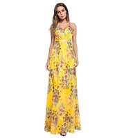 cf23ef651f8 Women sexy Strap Crisscross Back Floral Print Maxi Dress Evening Gown for  ladies Spaghetti Backless Summer beach dresses