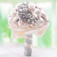 yeni pembe gül çiçekleri toptan satış-Yeni Düğün Buketleri Gül Pembe Gül Düğün Çiçekleri Gelin Buketleri 2018 Sparkly için Lüks Elmas Kristal Gelin Ramos De Novia