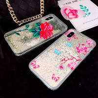 ingrosso diamanti rosa di plastica-Quicksand Floating Liquid Pink Rose Glitter Sparkle Beads Case per iphone X I Hard Plastic Clear Cover Soft TPU Silicone 3D Diamond Skin