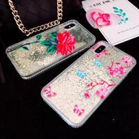 cubierta de la caja dura de la flor para el iphone al por mayor-Quicksand flotante flor líquida Rose Glitter Sparkle Beads caso para iphone X I Hard Plastic Clear Cover suave TPU silicona diamante 3D Skin