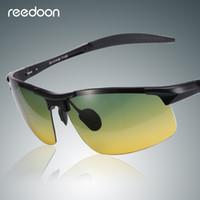 gafas polarizadas amarillas al por mayor-Gafas de sol Reedoon HD Polarized Yellow Lens Antideslumbrante Marco de magnesio de aluminio Gafas de visión nocturna Gafas de conducción para hombres