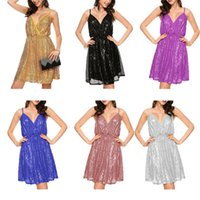 Wholesale sexy work out clothing - Dresses Women Sequin Sexy Dress Lady Summer Nightclub Dress Mini Strap V Neck Dresses Sleeveless Midi Dress Elegant Casual Clothes BBA153