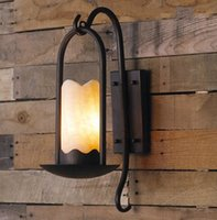 Wholesale Vintage Marble Lamps - American country-style restaurant garden wall lamp retro bedside aisle corridor Iron and marble wall light LLFA
