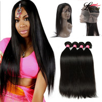 Wholesale cheap brazilian hair bundles online - Brazilian Straight Virgin Hair With Lace Frontal Closure Human Hair bundles With Closure Natural Color Cheap Pre Plucked Lace Frontal
