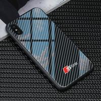 notiztelefone logo großhandel-Freies Verschiffen tpu + ausgeglichenes Glas sline Logo Audi Telefon-Kasten für iphone X XR XS maximales 7 6S 8 plus Samsung s8 s9 S10 plus Anmerkung 8 9 HUAWEI P30