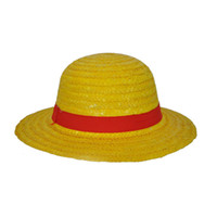 Wholesale one piece luffy hat online - New One Piece Cosplay Cartoon Props Hat Luffy Anime Straw Boater Beach Strawhat Halloween Gift