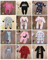 bebek için kırmızı takım toptan satış-Bebek Tulum Bebek Romper Pamuk Pijama Noel Bodysuit Ekose Taç Çizgili Pembe Kırmızı Erkek Kız Çocuk Giyim Kıyafetler 0-24 M Toddler Suit