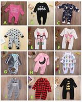 pyjamas jumpsuit achat en gros de-Combinaison Bébé Barboteuse En Coton Pyjamas De Noël Body Plaid Couronne Rayée Rose Rouge Garçon Fille Vêtements D'enfant Tenues 0-24 M Toddler Costume