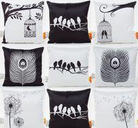 travesseiros de pássaro branco preto venda por atacado-Preto e Branco Pássaros Capa de Almofada De Penas Árvore Gaiola Aves Dandelion Fronha 8 Estilos Fronhas Quarto Sofá Decoração