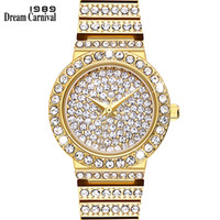 каменные корпуса оптовых-Dreamcarnival 1989 Full Crystals Round Case  Wrist Bracelet Watches for Women Stone Dial Ladies Clock Christmas Gift A8367